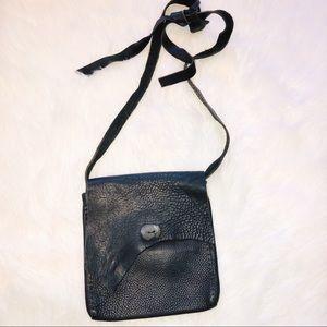 Handbags - Unique Handmade black leather hobo crossbody bag
